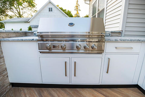 Sleek Kitchen, Charming Pergola, Warm Herringbone Deck, Outdoor Getaway - Summerset Grill