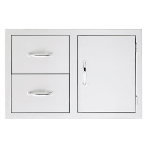 "33"" North American Stainless Steel 2-Drawer & Access Door Combo w/ Masonry Frame Return"