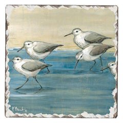 Absorbent Stone Coaster - Sandpipers on the Beach