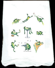 Flour Sack Towel: Party Frogs