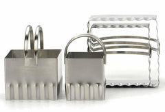 Biscuit Cutter Rippled Square Set/4