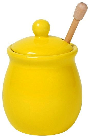 Honey Pot w/Bamboo Dipper Lemon