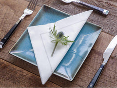 Dinner Napkin White/Silver Stitch