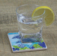 Absorbent Stone Coaster - Dolphin Duo