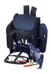 Oak & Olive Tandoor 4 Person Deluxe Picnic Backpack (Navy)