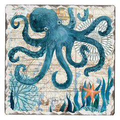 Absorbent Stone Coaster - Nautical Octopus