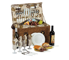 Oak & Olive Woodstock 4 Person Picnic Basket with Insulated Cooler
