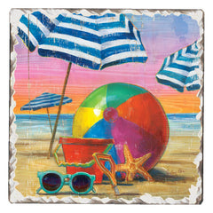 Absorbent Stone Coaster - Beachball