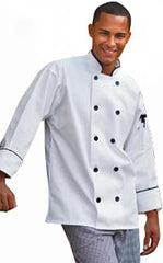 Chef Coat Madrid White W/Black Piping