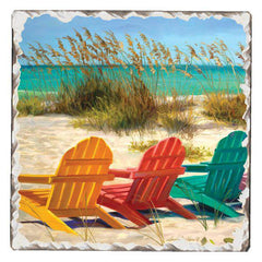 Absorbent Stone Coaster - Beach Chairs