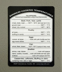 Cooking Temperature Reference Label