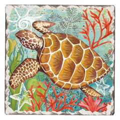 Absorbent Stone Coaster - Sea Turtle Swim