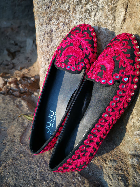 Valentina - JUJU by Jyoti Sardar - handmade hand embroidered vegan shoes for women