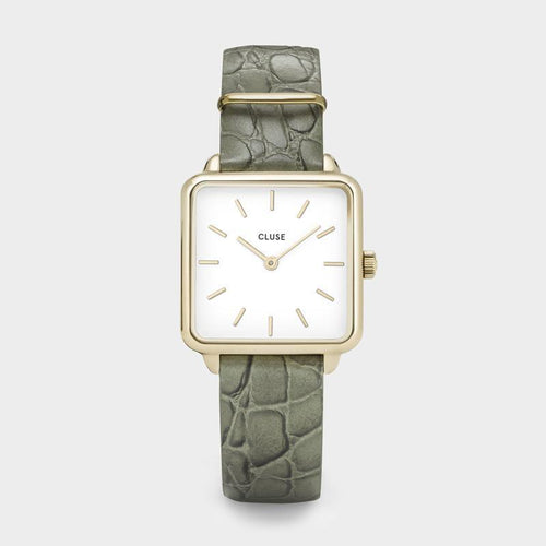Image: CLUSE La Tétragone Gold White/Green Alligator CL60016 - Montre
