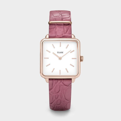 Image: CLUSE La Tétragone Rose Gold White/Soft Berry Alligator CL60020 - Montre