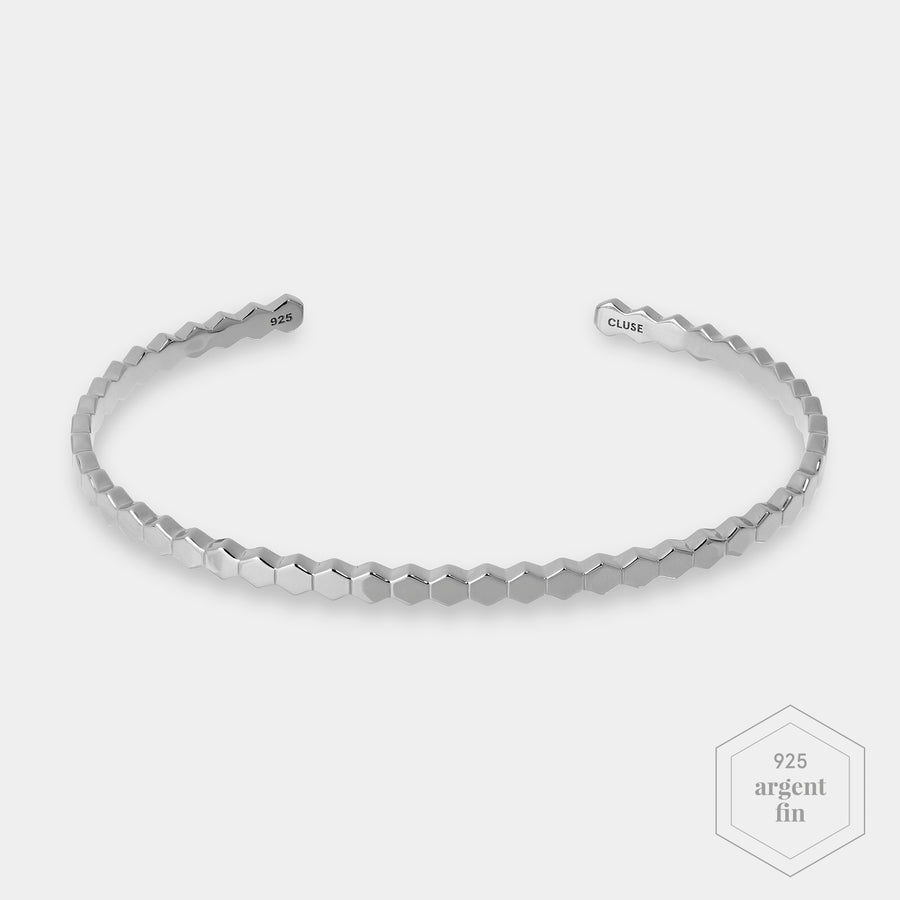 CLUSE Essentielle Silver ​All Hexagons Bangle Bracelet CLJ12017 - Bracelet