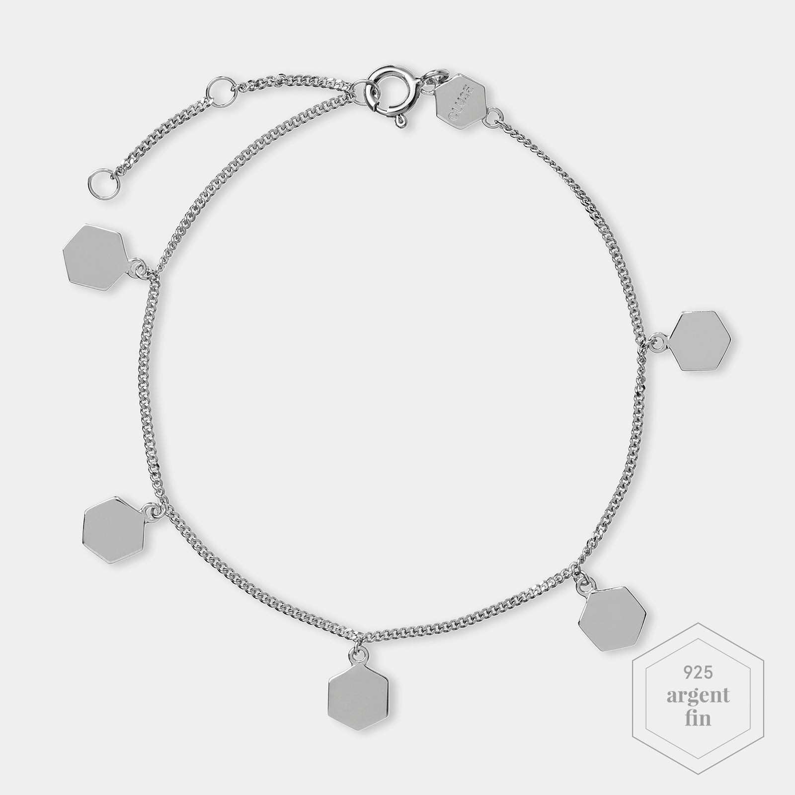 CLUSE Essentielle Silver Hexagon Charms Chain Bracelet CLJ12018 - Bracelet