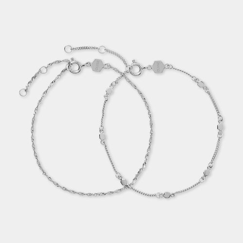 Image: CLUSE Essentielle Silver Set of ​Two ​twisted and Hexagon Chain Bracelets CLJ12019 - Bracelets
