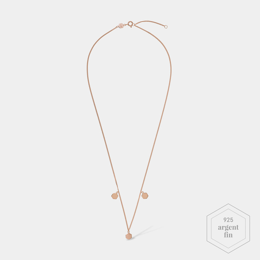 CLUSE Essentielle Rose Gold Three Hexagon Charms Necklace CLJ20012 - collier