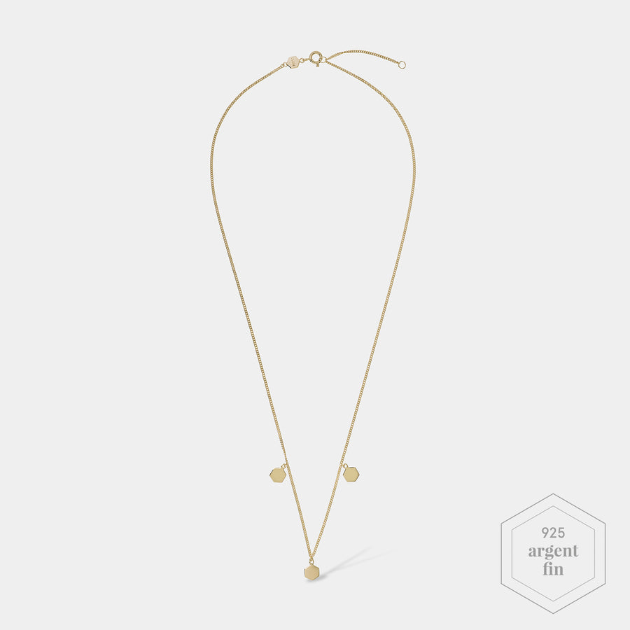 CLUSE Essentielle Gold Three Hexagon Charms Necklace CLJ21012 - Collier