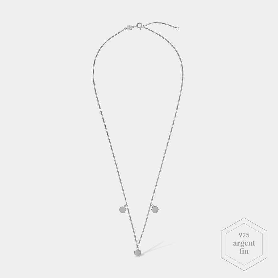 CLUSE Essentielle Silver Three Hexagon Charms Necklace CLJ22012 - Collier