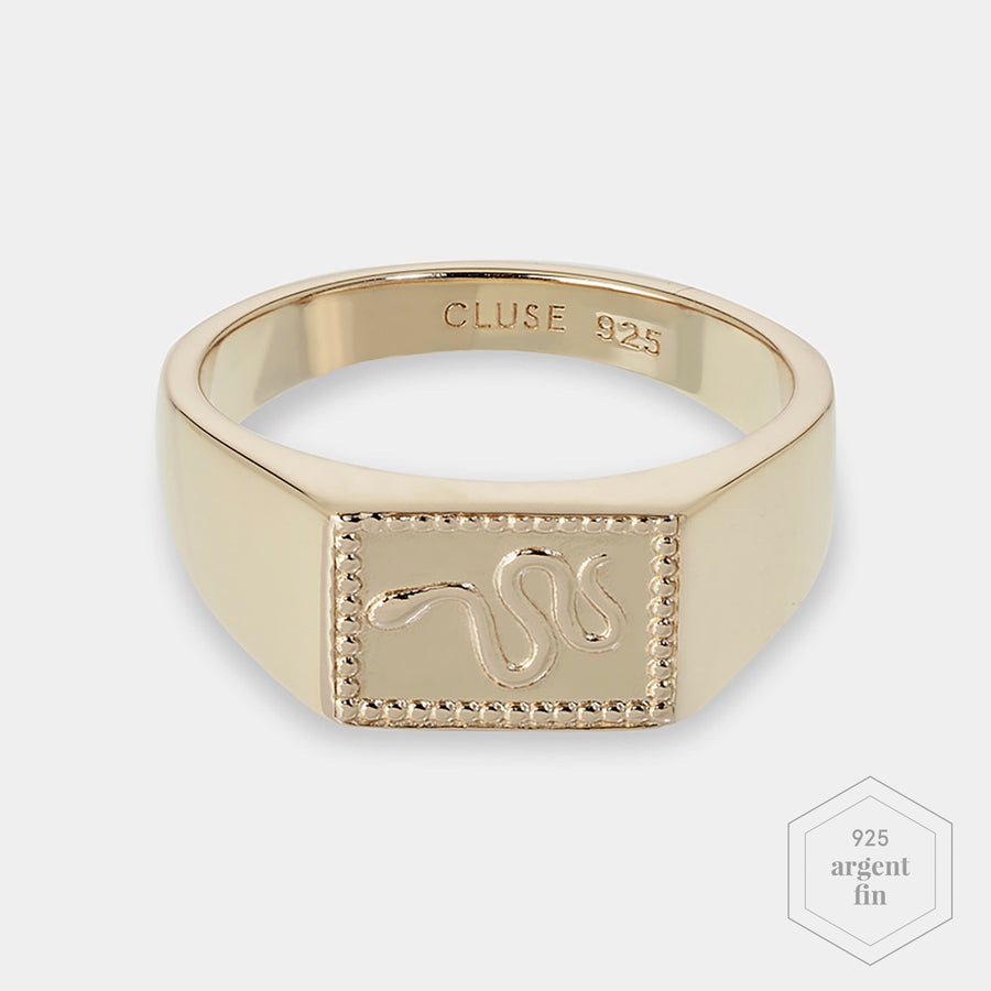 CLUSE Force Tropicale Gold Signet Rectangular Ring 56 CLJ41012-56 - Bague taille 56