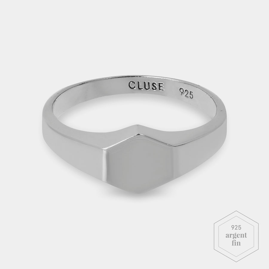 CLUSE Essentielle Silver Hexagon Ring 52 CLJ42011-52 - bague taille 52