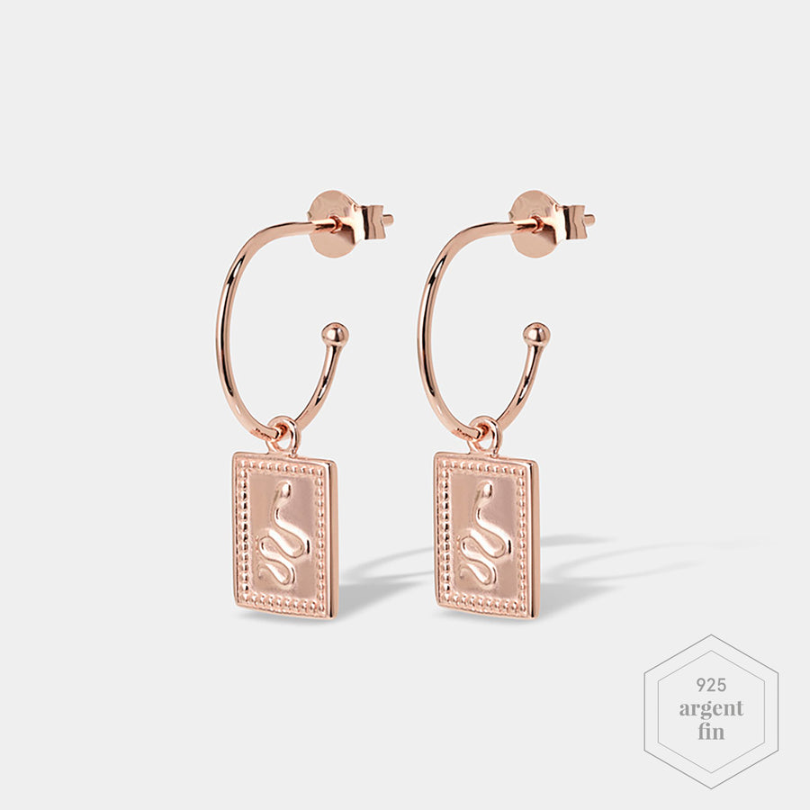 CLUSE Force Tropicale Rose Gold Hoop Tag Pendant Earrings CLJ50019 - Boucles d'oreilles