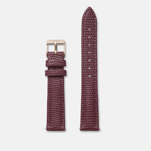 Image: CLUSE 16 mm Strap Burgundy Lizard/Rose Gold CLS380 - Bracelet-montre