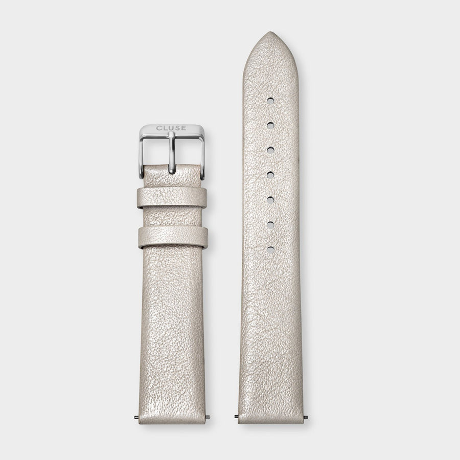 CLUSE Strap 18 mm Leather, Warm White Metallic/ Silver - Bracelet-montre