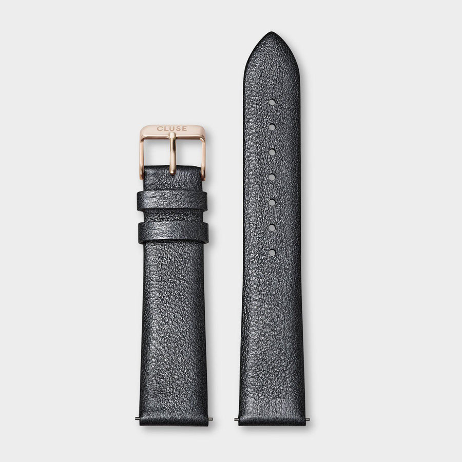 CLUSE Strap 18 mm Leather, Dark Grey Metallic/ Rose Gold - Bracelet-montre