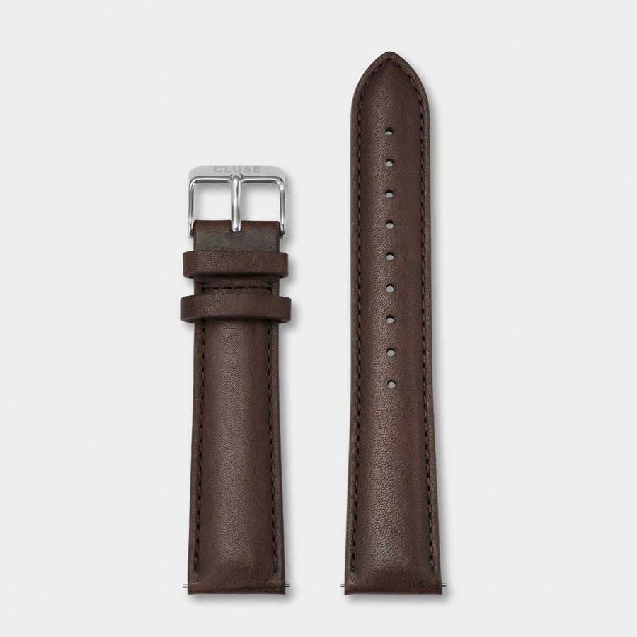 CLUSE Strap 20 mm Leather, Dark Brown/ Silver CS1408101065 - strap