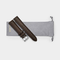 CLUSE Strap 20 mm Leather, Dark Brown/ Silver CS1408101065 - strap pouch