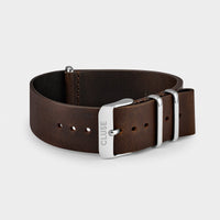 CLUSE Strap 20 mm Nato Leather, Dark Brown/ Silver CS1408101069 - Bracelet-montre