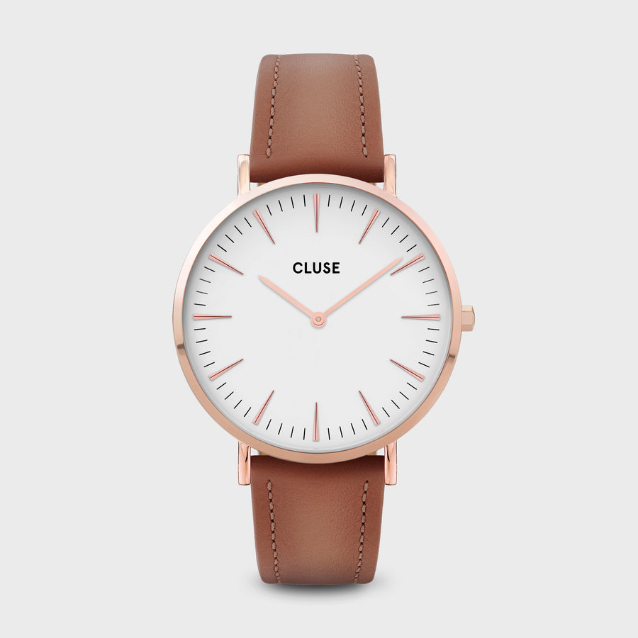 CLUSE La Bohème Leather Rose Gold White/Caramel CW0101201017 - Montre