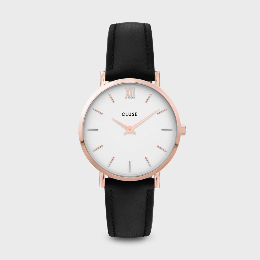 CLUSE Minuit Leather Rose Gold White/Black CW0101203020 - Montre