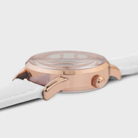 CLUSE La Vedette Leather Rose Gold White/White CW0101206005 - détail du boîtier de montre