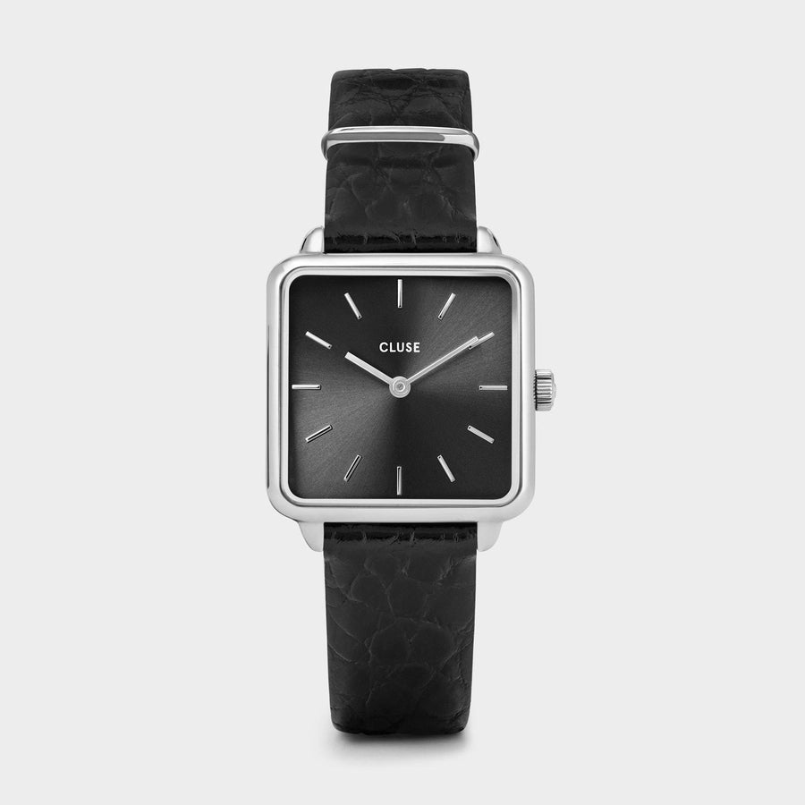 CLUSE La Tétragone Leather Silver Black/Black Alligator - Montre