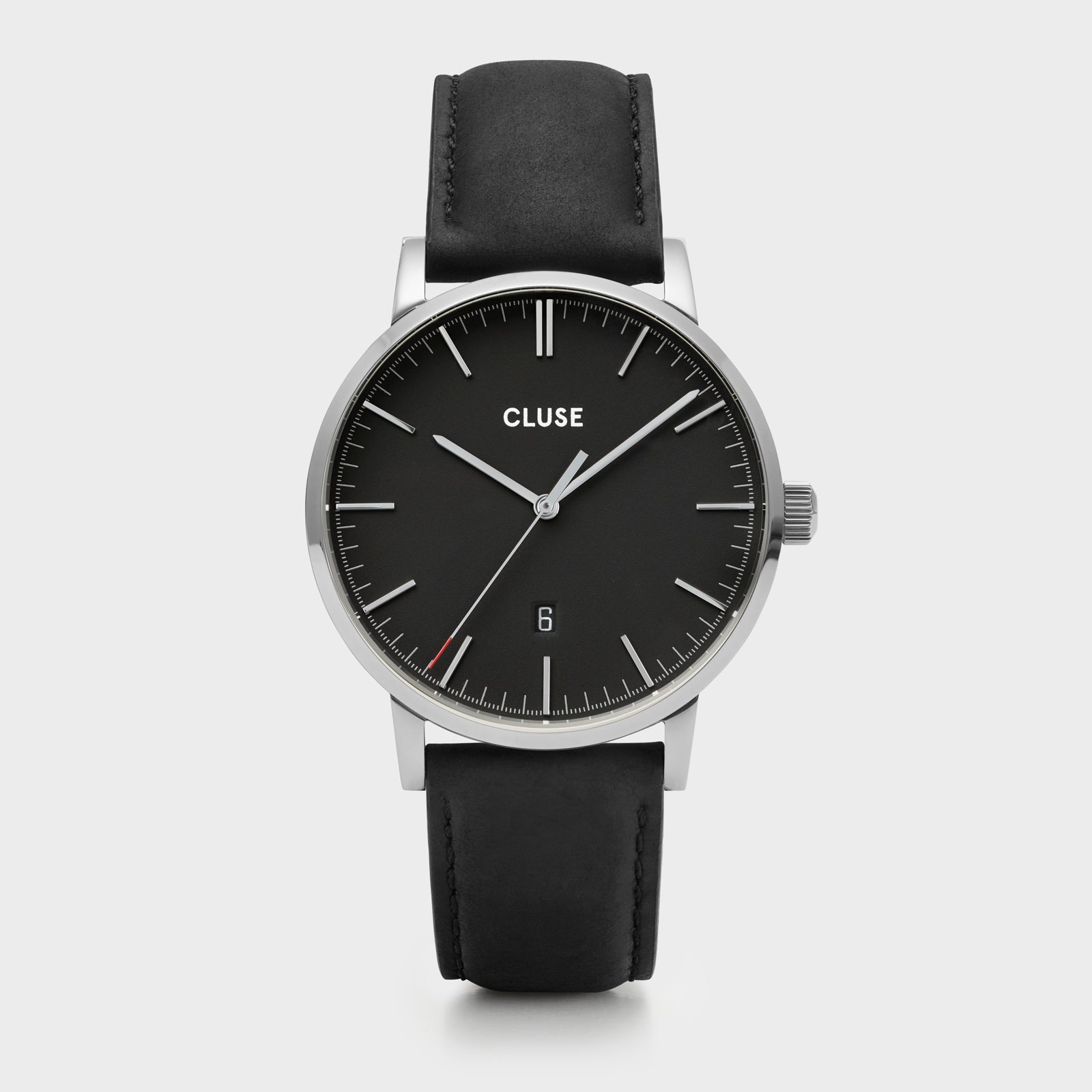 CLUSE Aravis leather silver black/black CW0101501001 - Montre