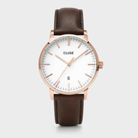 CLUSE Aravis leather rose gold white/dark brown CW0101501002 - Uhr