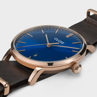 CLUSE Aravis nato leather rose gold dark blue/dark brown CW0101501009 - détail du boîtier de montre