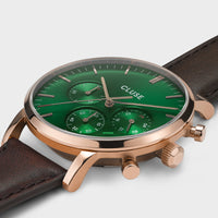 CLUSE Aravis chrono leather rose gold green/dark brown CW0101502006 - détail du boîtier de montre
