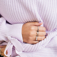 CLUSE Idylle Silver Solid And Marble Hexagon Ring Set-54 CLJ42001-54 - Bague taille 52 sur la main