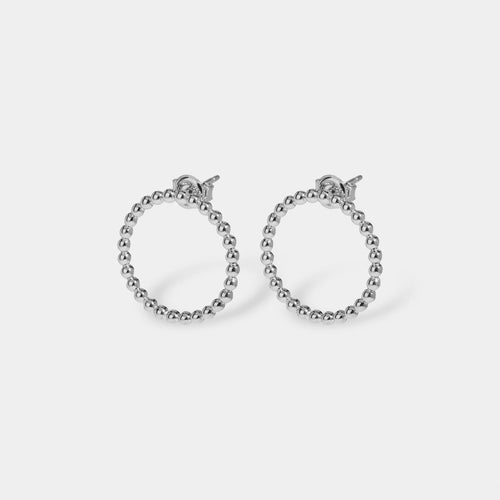 Image: CLUSE Essentielle Silver Open Circle Embellished Stud Earrings CLJ52007 - Boucles d'oreilles