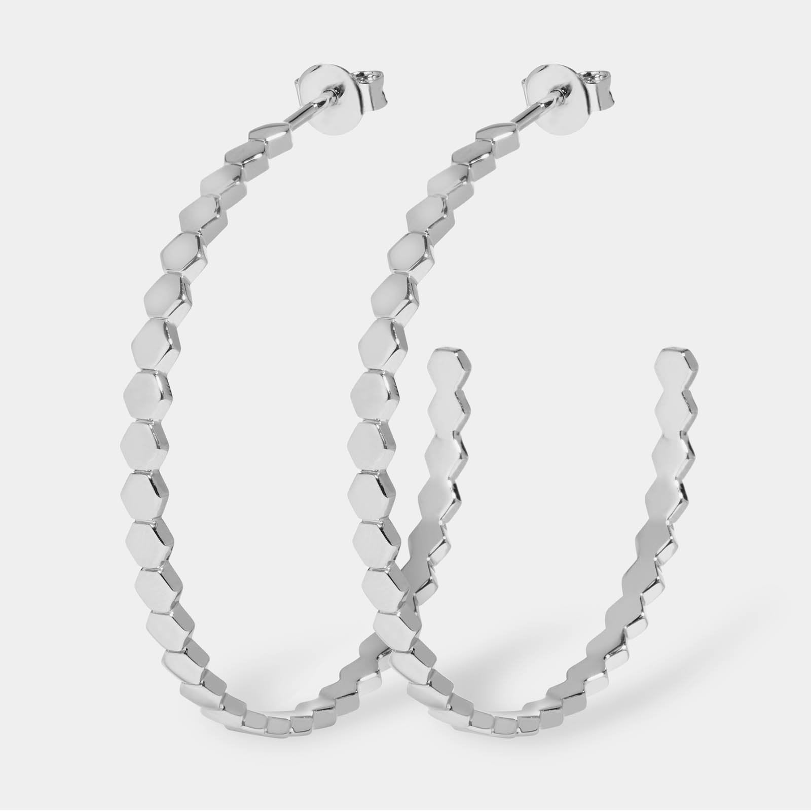 CLUSE Essentielle Silver All Hexagons Hoop Earrings CLJ52008 - Boucles d'oreilles