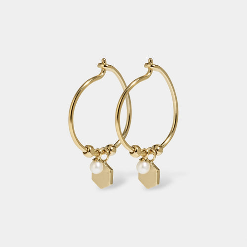 Image: CLUSE Essentielle Gold Hexagon and Pearl Charm Hoop Earrings CLJ51002 - Boucles d'oreilles
