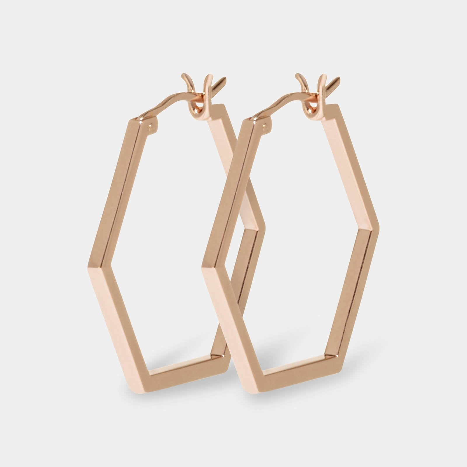 CLUSE Essentielle Rose Gold Hexagonal Hoop Earrings CLJ50004 - Boucles d'oreilles