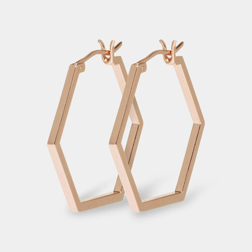 Image: CLUSE Essentielle Rose Gold Hexagonal Hoop Earrings CLJ50004 - Boucles d'oreilles