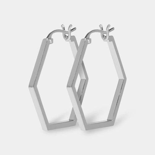 Image: CLUSE Essentielle Silver Hexagonal Hoop Earrings CLJ52004 - Boucles d'oreilles