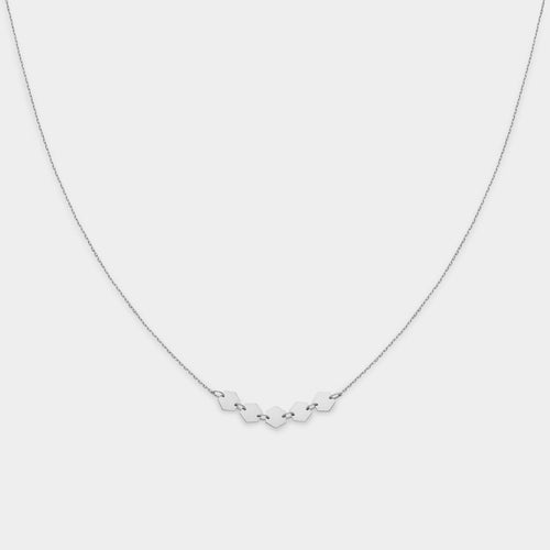 Image: CLUSE Essentielle Silver Hexagons Necklace CLJ22001 - Collier